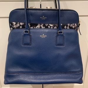Kate Spade Blue Leather Large Tote w/Laptop Case